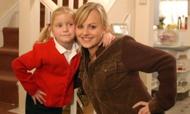 Coronation Street Sarah-Louise Platt and daughter Bethany. 16/1/2015.