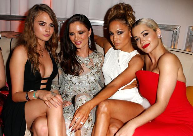 Model Cara Delevingne, designer Georgina Chapman, entertainer Jennifer Lopez and singer Rita Ora attend The Weinstein Company & Netflix's 2015 Golden Globes After Party on January 11, 2015.