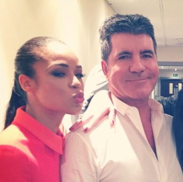 Sarah-Jane Crawford poses with friend Sam Joyce, Simon Cowell and Sinitta backstage on X Factor, 17 November 2014