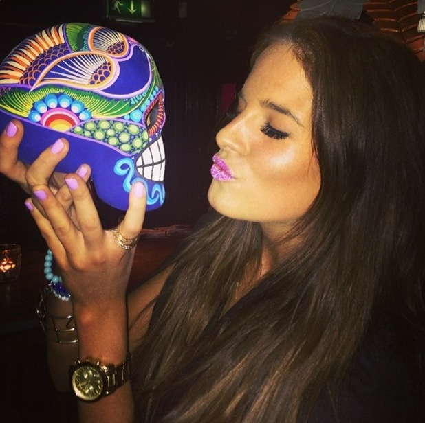 Made In Chelsea's Binky Felstead rocks pink glitter lips at the Thomson #MyScene campaign party in London - 14 January 2015