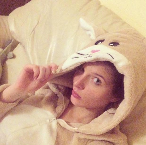 Helen Flanagan wears a rabbit onesie as she recovers from morning sickness at parents' house - 13 Jan 2015
