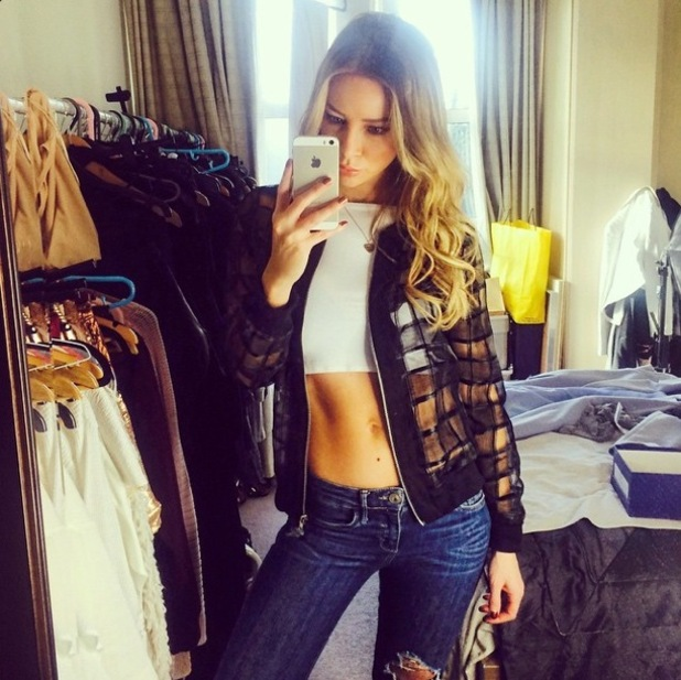 TOWIE's Lauren Pope poses in a sheer bomber jacket, coming soon to her clothing collection for InTheStyle.com - 11 January 2015
