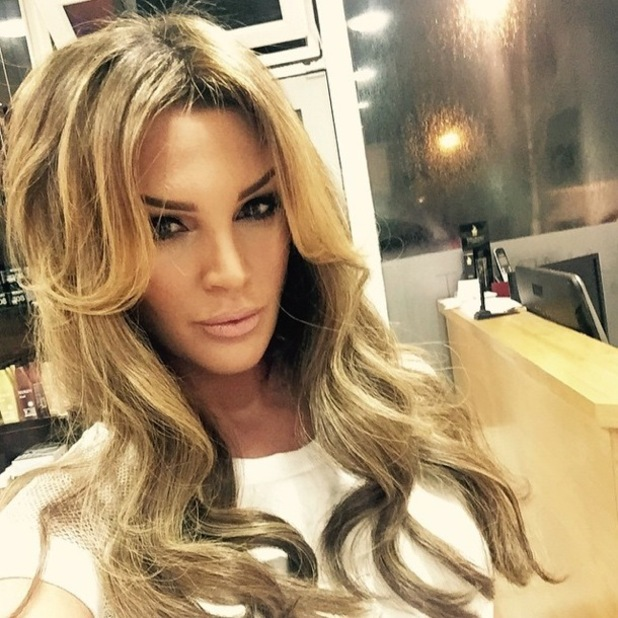 Danielle Lloyd shows off her new blonde hair extensions after visiting Ceira Lambert hair salon in Dublin, Ireland - 15 January 2015