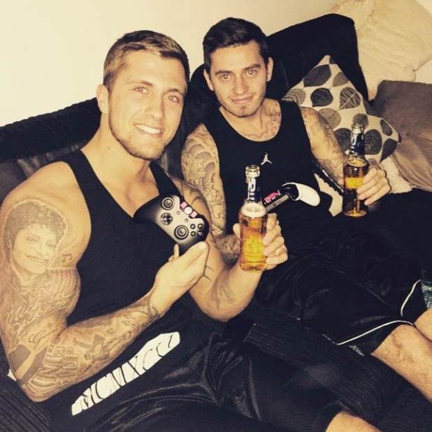 Pregnant Jacqueline Jossa shares a picture of her beau Dan Osborne and friend on a night in, 17 January 2015