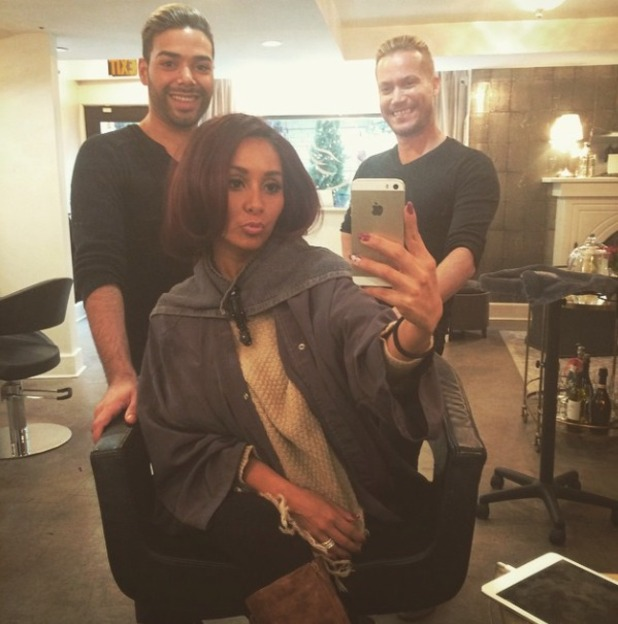 Snooki gets her extensions removed and seemingly has her hair cut into a bob by Bradley Moreland and Luis Miller at Vidov Salon, New York, 14 January 2015