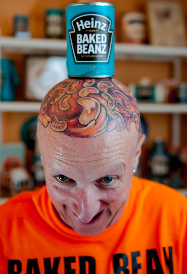 Captain Beany gets 60 baked beans tattooed on his head, 10/1/15