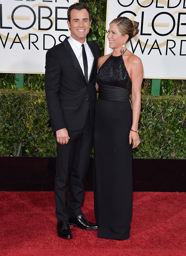 Justin Theroux and actress Jennifer Aniston attend the 72nd Annual Golden Globe Awards at The Beverly Hilton Hotel on January 11, 2015 in Beverly Hills, California.