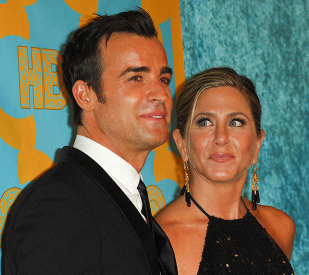 Justin Theroux and actress Jennifer Aniston arrive at HBO Official Globes Party at The Beverly Hilton Hotel on January 11, 2015 in Beverly Hills, California.