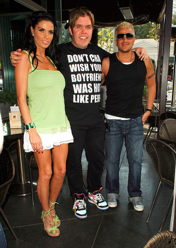 Katie Price aka Jordan, Peter Andre, and blogger Perez Hilton meet for lunch at Caffe Primo on Sunset Plaza Los Angeles, California - 24.04.08