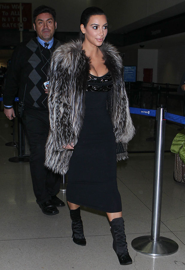 Kim Kardashian seen at LAX on January 11, 2015 in Los Angeles, California.