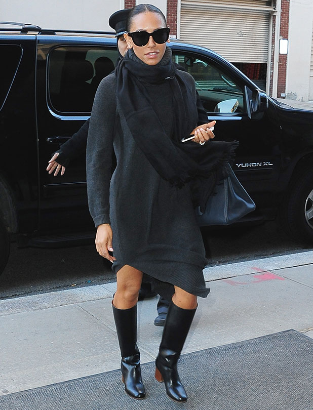 Mel B and Stephen Belafonte are seen walking in Soho on January 15, 2015 in New York City.