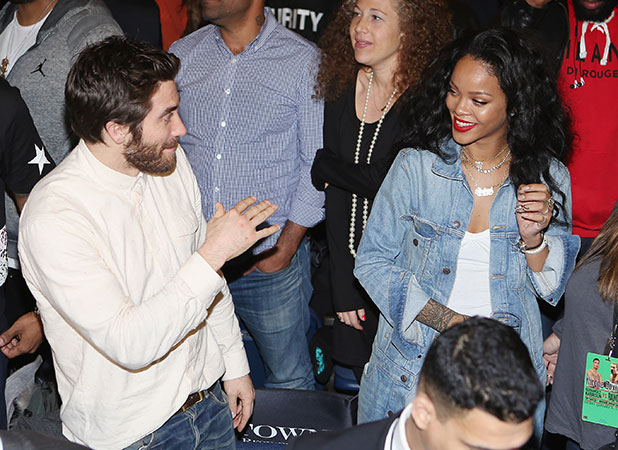 Jake Gyllenhaal and singer Rihanna attend 2015 Throne Boxing at The Theater at Madison Square Garden on January 9, 2015 in New York City.