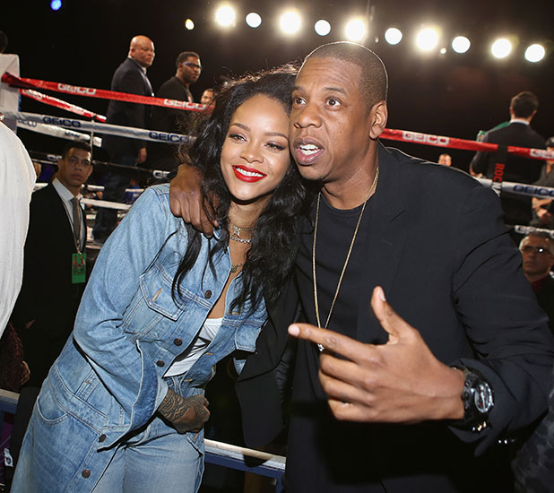 Jake Gyllenhaal and Jay Z attend 2015 Throne Boxing at The Theater at Madison Square Garden on January 9, 2015 in New York City.