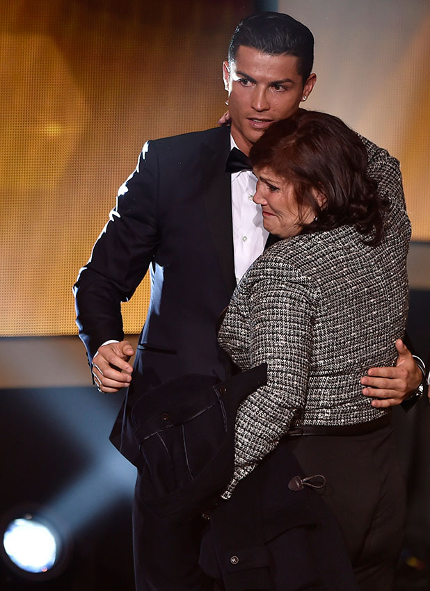 Cristiano Ronaldo with his mum after winning 2014 FIFA Ballon d'Or award for player of the year during the FIFA Ballon d'Or award ceremony at the Kongresshaus in Zurich on January 12, 2015.