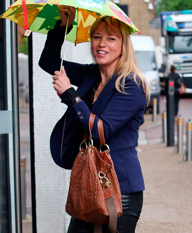 Sara Cox going into ITV Studios for a meeting, 2014