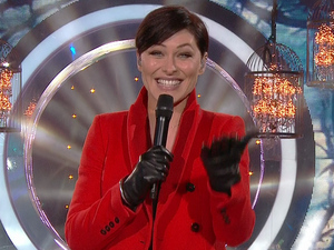 Emma Willis presenting Celebrity Big Brother on live eviction night - 16/1/2015.