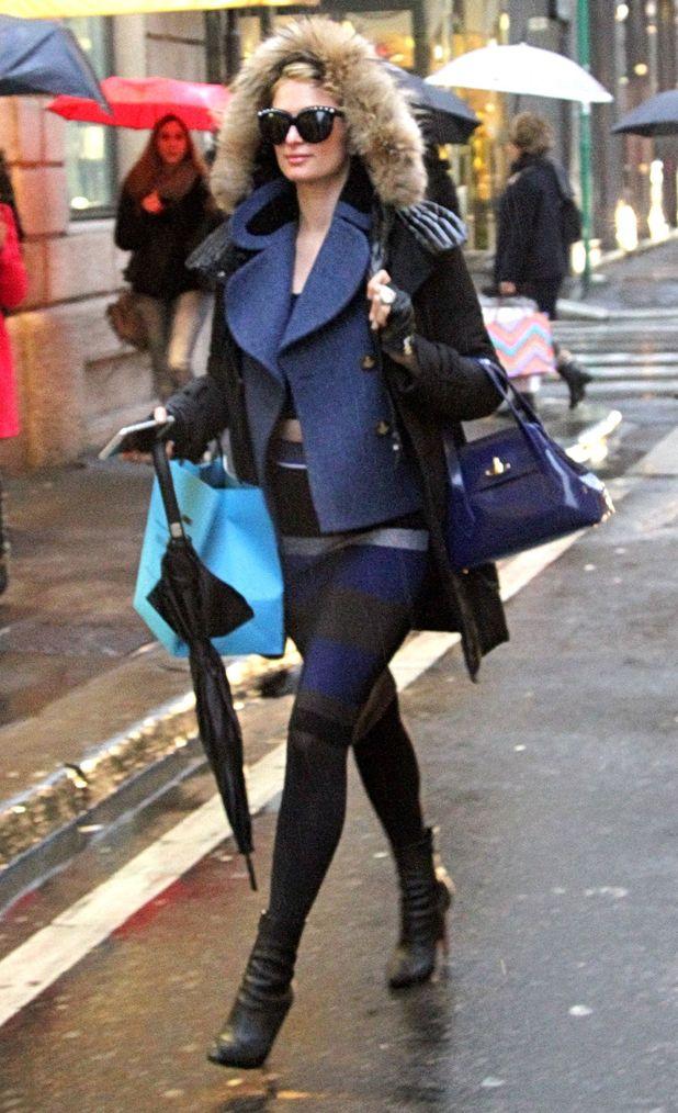 Paris Hilton goes shopping in Milan, Italy - 21 January 2015