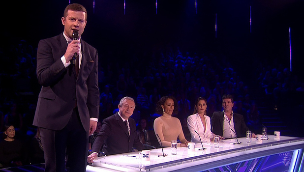Dermot O'Leary presenting The X Factor - 23/11/2014.