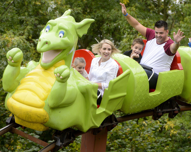 Claire Richards with husband Reece Hill and children Charlie and Daisy, Legoland 18 Sep 2014