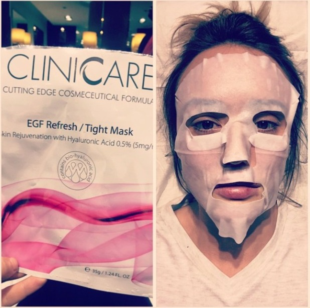 Charlotte Crosby gets a Cliniccare facial at Le Beau Ideal in preparation for the National Television Awards, 19 January 2015