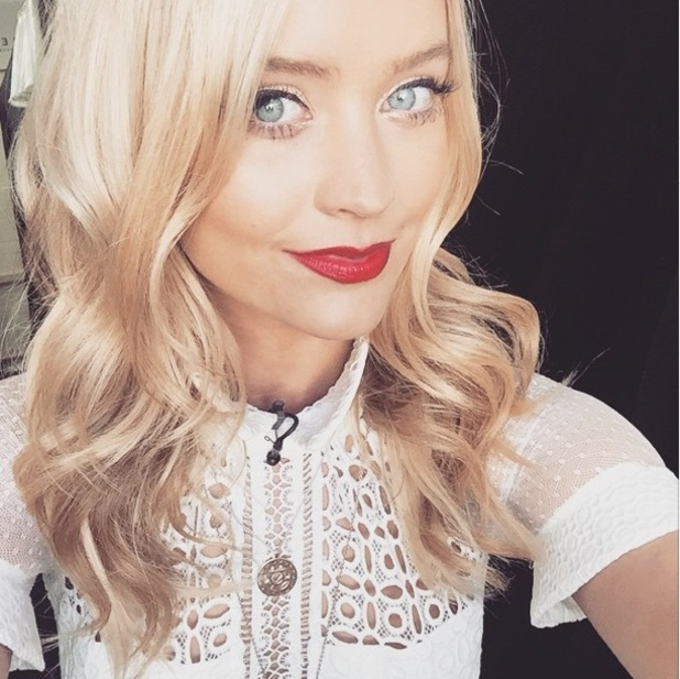 Laura Whitmore posts an Instagram picture while wearing a red lipstick by Bourjois - 19 January 2015