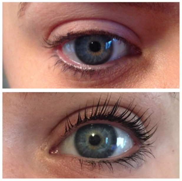 Maria Fowler has LVL by Nouveau Lashes done, before and after pic, 19 January 2015
