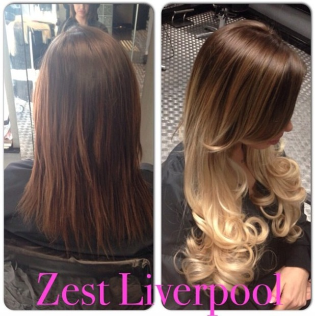 Holly Hagan gets ready for NTAs with balayage Beauty Works hair extensions at Zest Liverpool, 20 January 2015