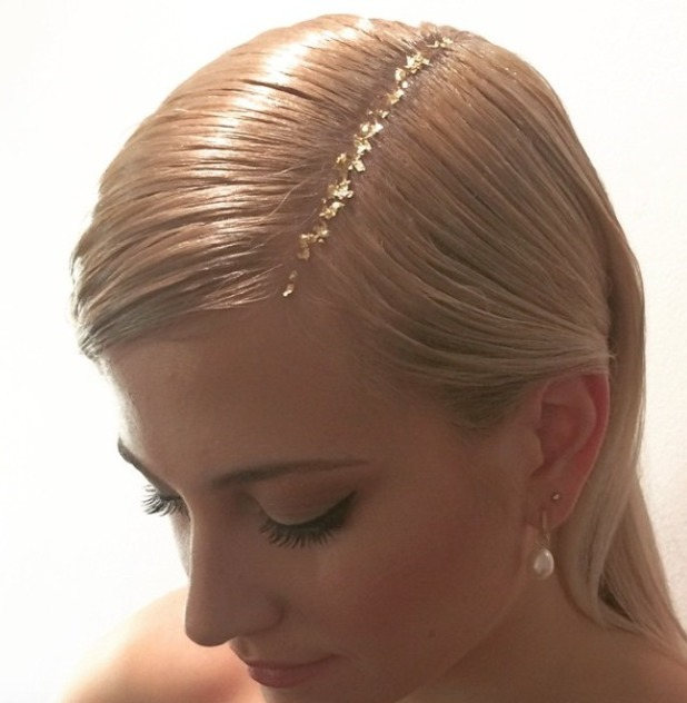 Pixie Lott's gold leaf parting, NTAs, 21 January 2015