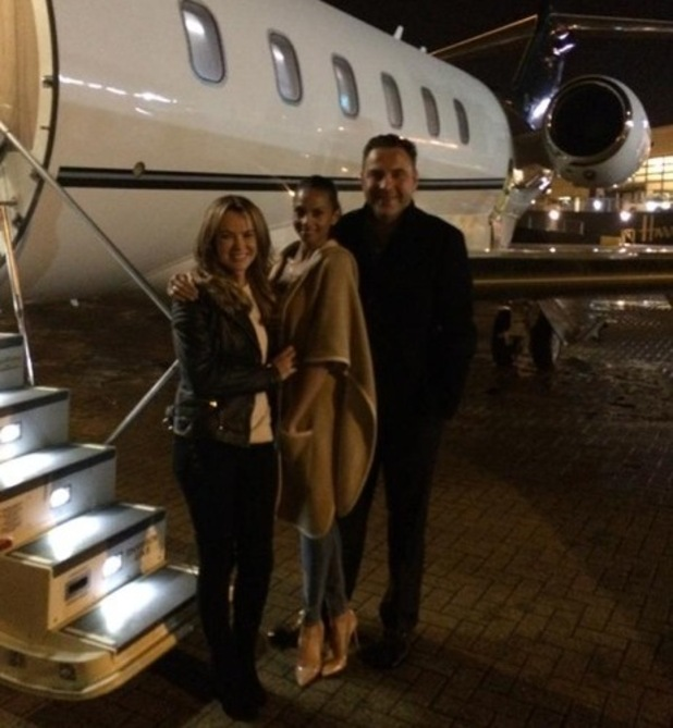 Amanda Holden, David Walliams and Alesha Dixon boarding jet for BGT