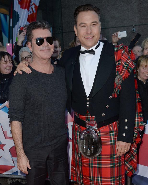 Simon Cowell and David Walliams at Britain's Got Talent Edinburgh Auditions held at Edinburgh Festival Theatre - Arrivals - 01/19/2015.