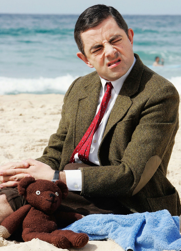 Rowan Atkinson in character as Mr Bean arrives at Bondi Beach to promote his new film 'Mr Bean's Holiday' on March 7, 2007 in Sydney, Australia.