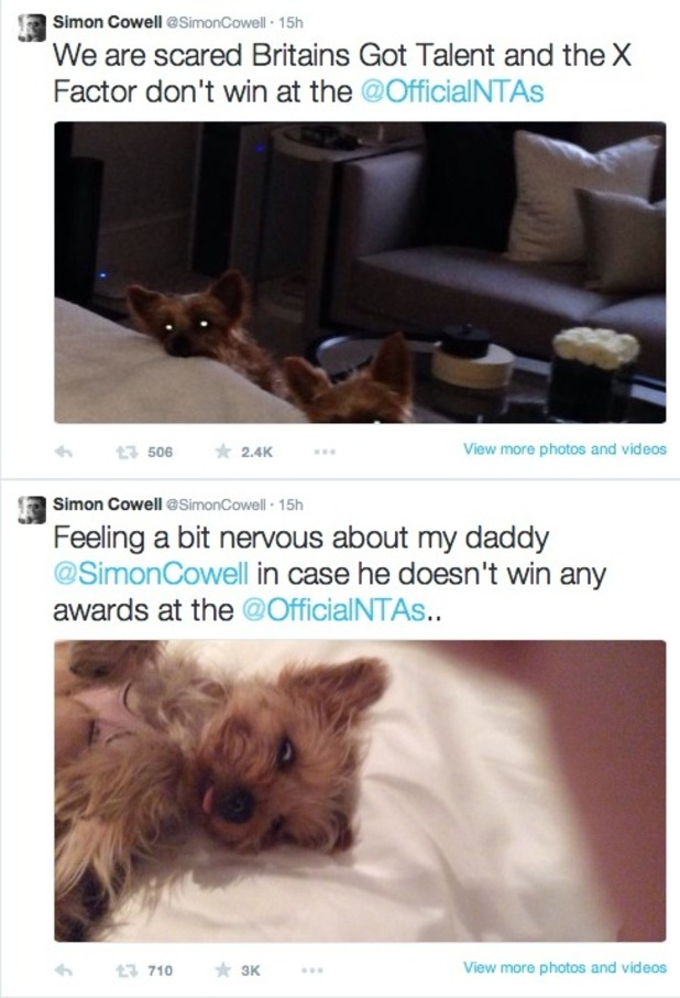 Simon Cowell sends tweets about his nominations in the National Television Awards - 19 January.