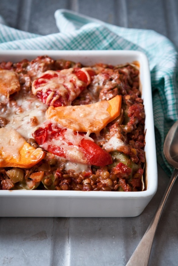 5:2 RICH PORK LASAGNE WITH LUCKY-SEVEN VEGETABLES BY KATE HARRISON 5:2 GOOD FOOD KITCHEN