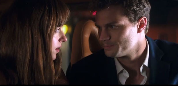 Fifty Shades of Grey: still from Ellie Goulding's Love Me Like You Do music video, January 2015 Christian and Ana in his car