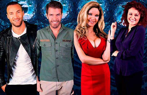 Celebrity Big Brother January 2015 housemates: Alicia Douvall, Calum Best, Perez Hilton and Nadia Sawalha. - all face eviction on Friday, 23 January 2015