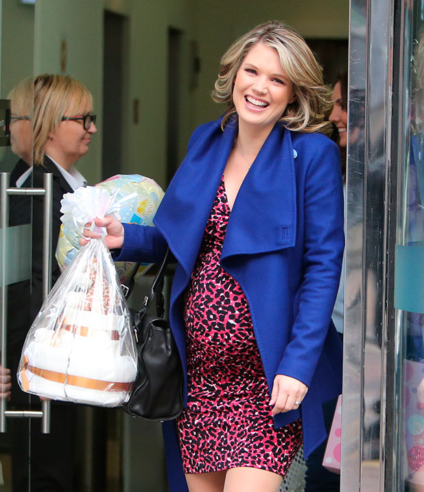 Charlotte Hawkins leaves the ITV studios after presenting her last Good Morning Britain show before going on maternity leave, 21 January 2015