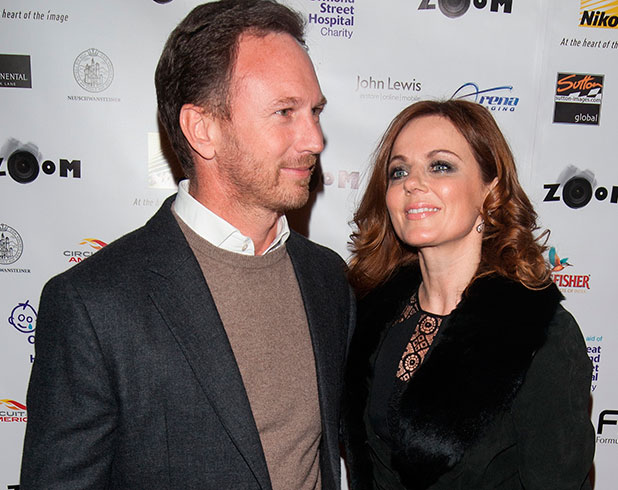Geri Halliwell and Christian Horner at Zoom Formula 1 Charity Gala Auction held at the Hotel InterContinental - Arrivals, 16 January 2015