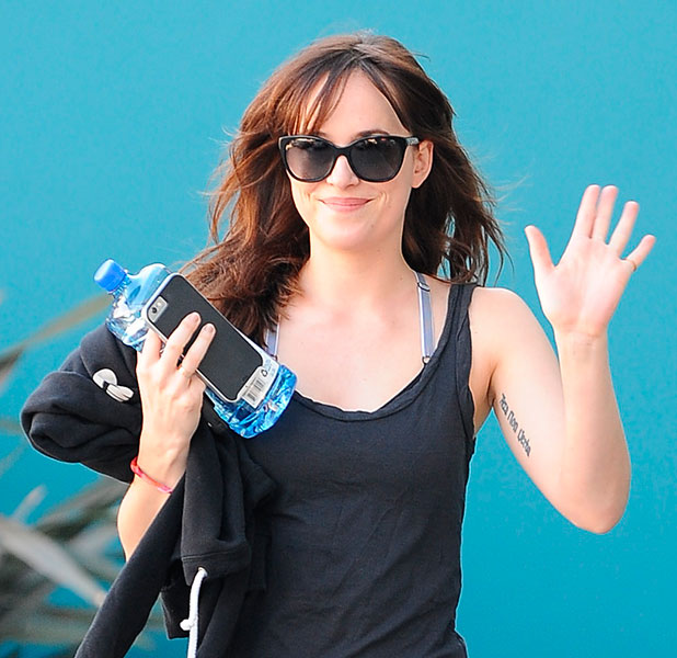 Dakota Johnson, star of the upcoming '50 Shades of Grey' film, goes shopping at Bristol Farms after a workout, January 2015