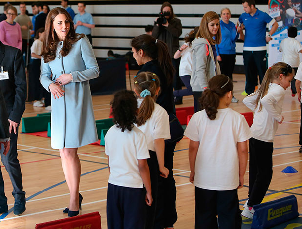 Catherine, Duchess of Cambridge visits the Kensington Leisure Centre to watch various activities, 19 January 2015