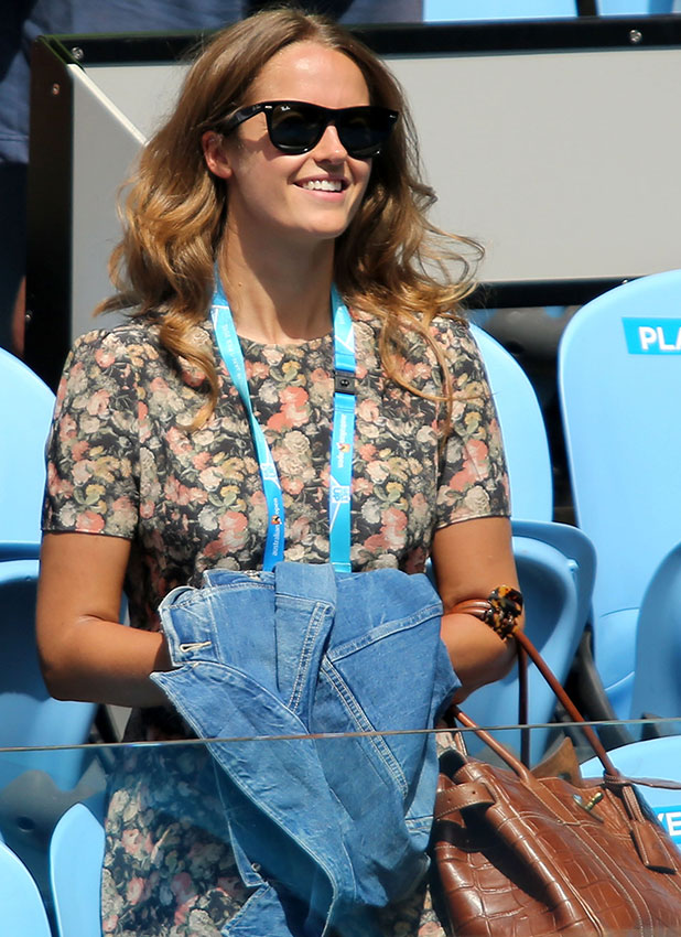 Kim Sears, girlfriend of Andy Murray of Great Britain arrives in his players box in his first round match against Yuki Bhambri of India during day one of the 2015 Australian Open at Melbourne Park on January 19, 2015 in Melbourne, Australia.