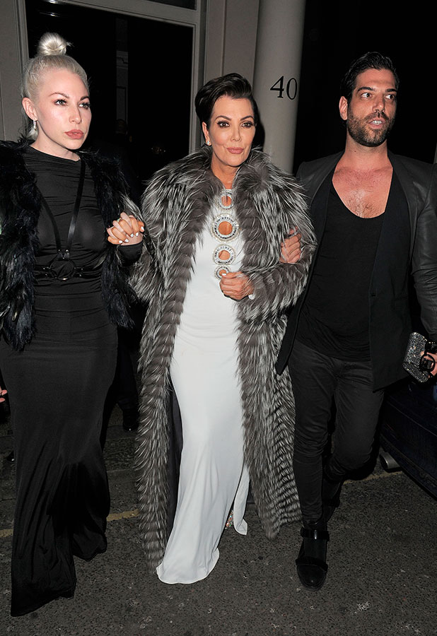 Kris Jenner leaving the Arts Club, having had dinner there, 21 January 2014
