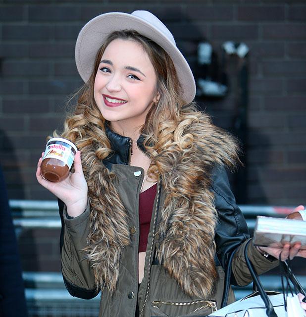 Lauren Platt holds jar of Nutella outside ITV, 20 January 2015