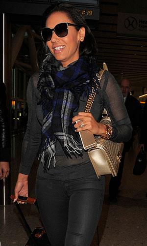 Mel B aka Melanie Brown arriving at Heathrow Airport, 21 January 2015