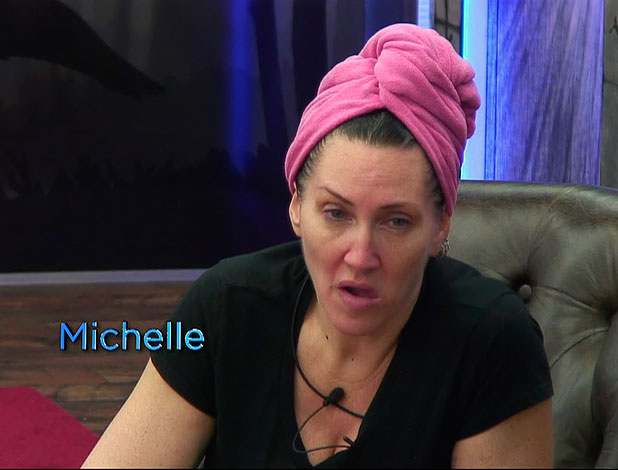 Michelle Visage with no make-up on CBB, January 2015