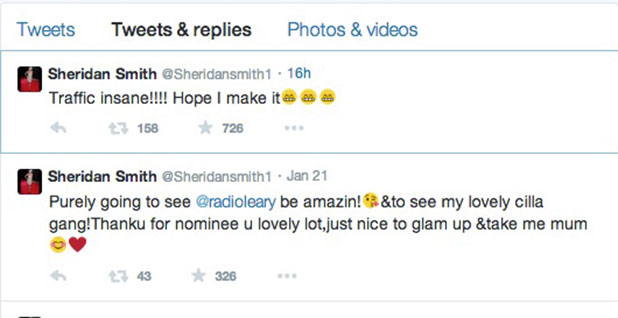 Sheridan Smith tweets about NTA traffic nightmare, 21 January 2015