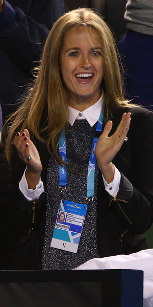 Kim Sears show off engagement ring supporting Andy Murray at Australian Open, Melbourne 27 January