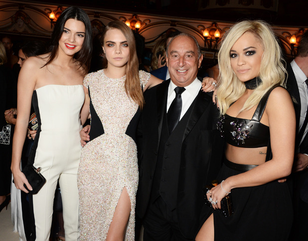 Kendall Jenner, Cara Delevingne, Sir Philip Green and Rita Ora attend the British Fashion Awards in London, England - 1 December 2014