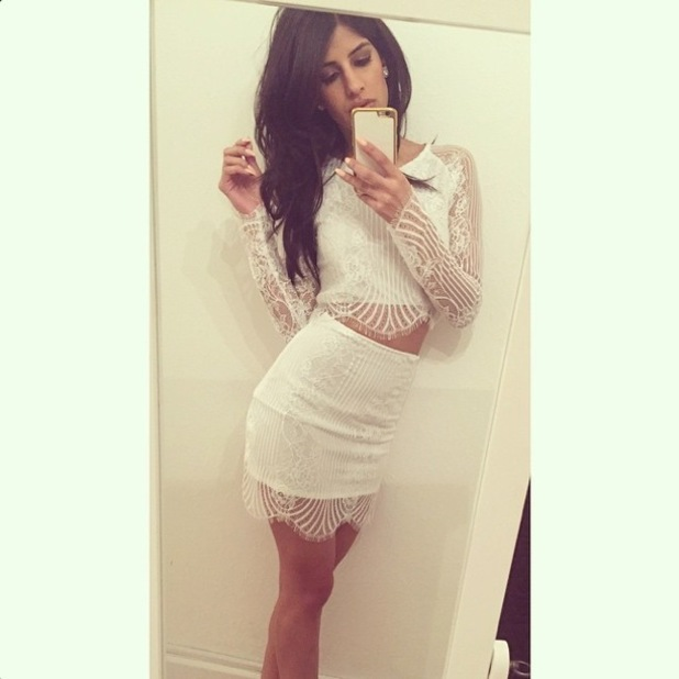 Jasmin Walia wears a white lace two-piece by For Love and Lemons - 24 January 2015