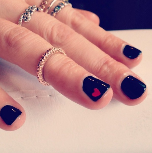 Laura Whitmore rocks love heart manicure for the launch of new Pandora heart charm for The British Heart Foundation. 'Wear it. Beat it.' afternoon tea at Bumpkin, South Kensington, London, 28 January 2015