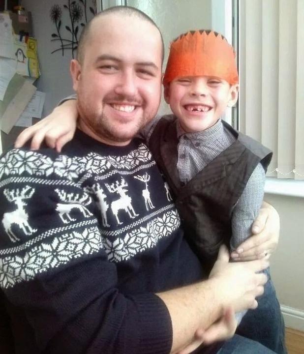 David Eyres with son Ben, Christmas Eve, 2013.